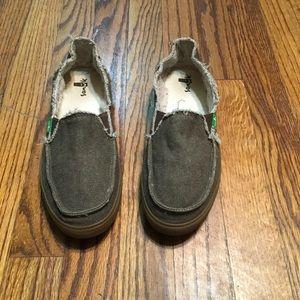 Sanuk slip on loafer flat canvas shoes size 9